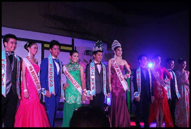 Winners of the recent search for Mr. & Ms. Science 2014 pose for photographers after the coronation rites.  Standing from left to right are Charles Albrecht & Hillary Faith Hervias (4th RU), Aldrin Miñosa & Iris Tomboc (2nd RU), Rajesh James de Leon & Joyce Mitra (Mr. & Ms. Science 2014), Junell Gotico & Irah Cullado (1st RU) and Gabriel Avena & Hillary Faith Hervias (3rd RU).