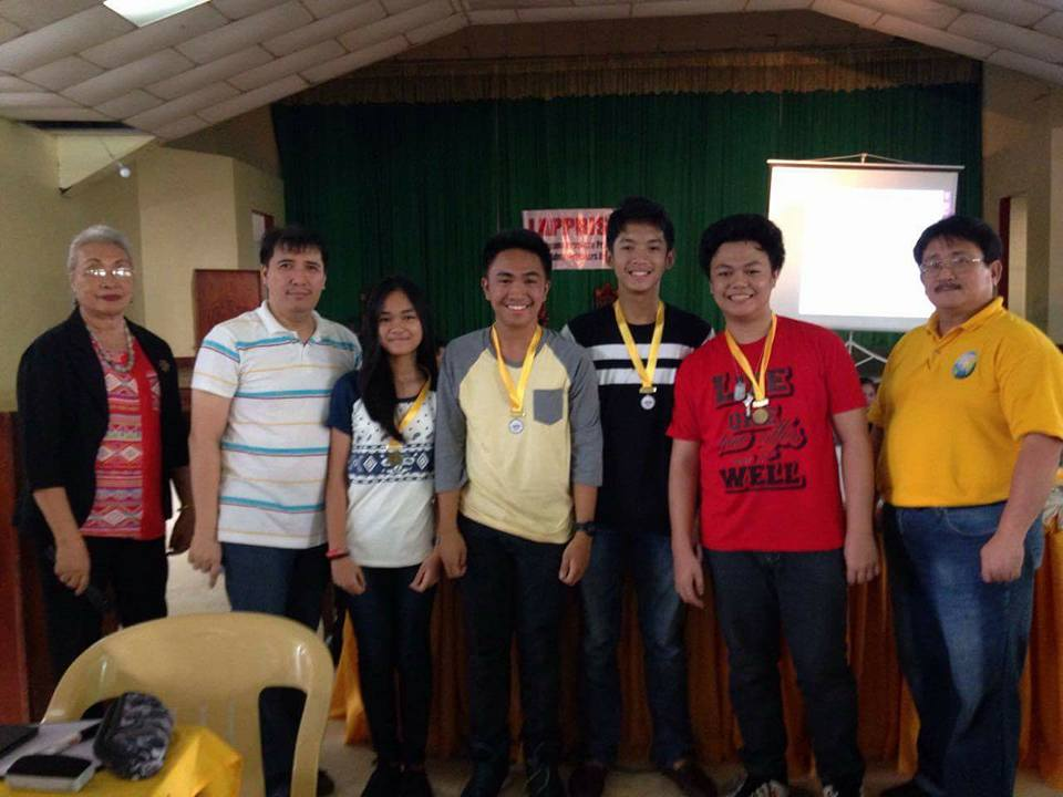 Members of the Science Team pose with their mentor, Mr. Herbert San Pedro (second from left) and organizers after receiving their medals at the LAPRISADA-sponsored competition last Saturday, 12 November 2016.