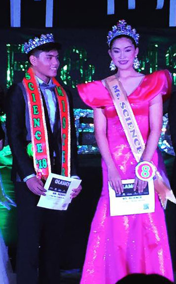 John Stephen Sorita and Angela Muramatsu moments after being crowned Mr. & Ms. Science 2018 at the Casa del Niño Gymnasium stage last Saturday, October 6,2018.
